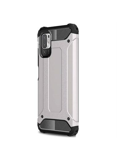 Microsonic Xiaomi Redmi Note 10 5G Kılıf Rugged Armor Gold Gümüş